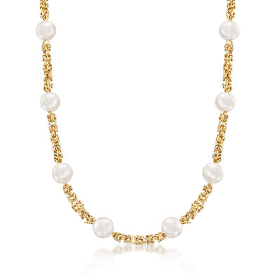 9mm Cultured Pearl and 14kt Yellow Gold Byzantine Station Necklace, , default