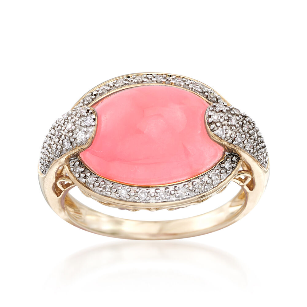 Pink Jade and .13 ct. t.w. Diamond Ring in 14kt Yellow Gold | Ross ...