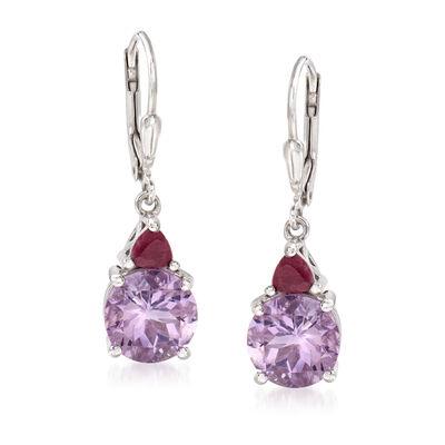 4.50 ct. t.w. Amethyst and .50 ct. t.w. Ruby Drop Earrings in Sterling Silver, , default