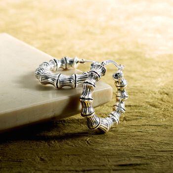 "Sterling Silver Small Bamboo Hoop Earrings. 1 1/8"", , default"