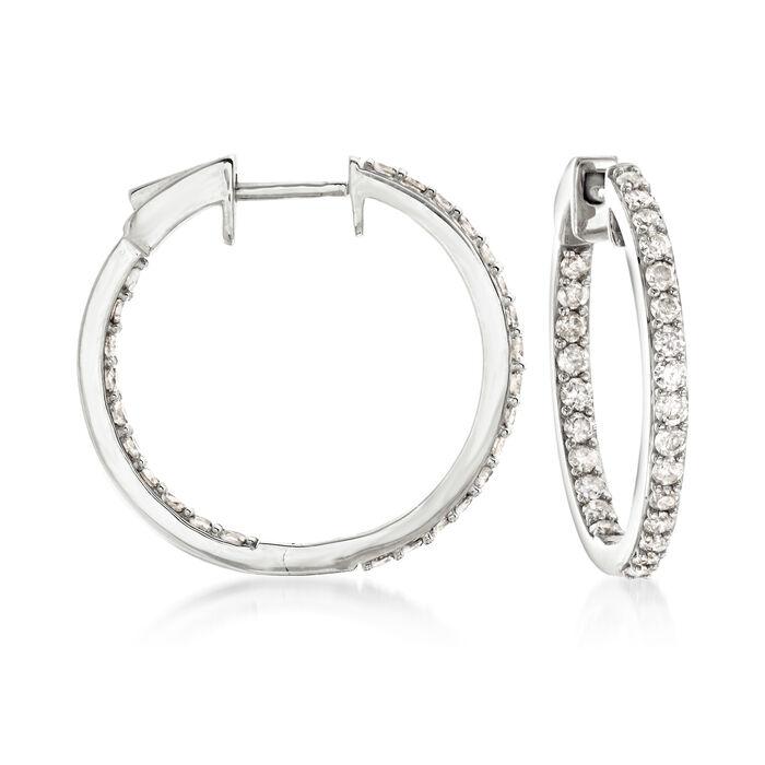 """1.00 ct. t.w. Diamond Inside-Outside Hoop Earrings in 14kt White Gold. 3/4"""", , default"""
