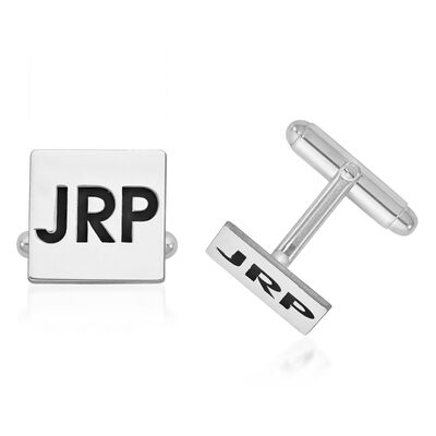 14kt White Gold Square Monogram Cuff Links with Black Enamel, , default