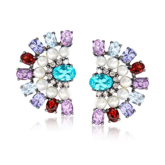 3mm Cultured Pearl and 4.00 ct. t.w. Multi-Gemstone Earrings in Sterling Silver, , default
