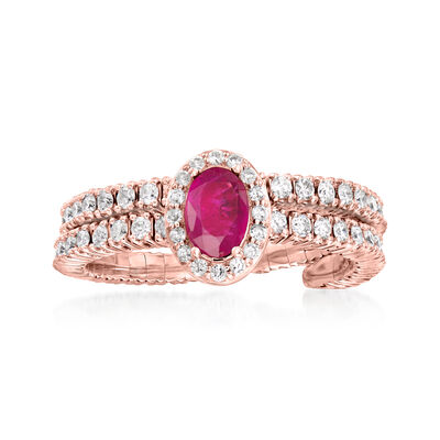 .90 ct. t.w. Diamond and .55 Carat Ruby Wrap Ring in 18kt Rose Gold