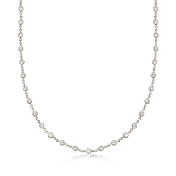 29.50 ct. t.w. CZ Station Multi-Strand Necklace in 14kt White Gold Over Sterling. 520, , default