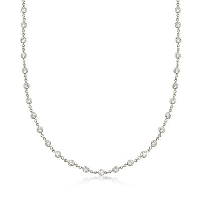 29.50 ct. t.w. CZ Station Multi-Strand Necklace in 14kt White Gold Over Sterling, , default
