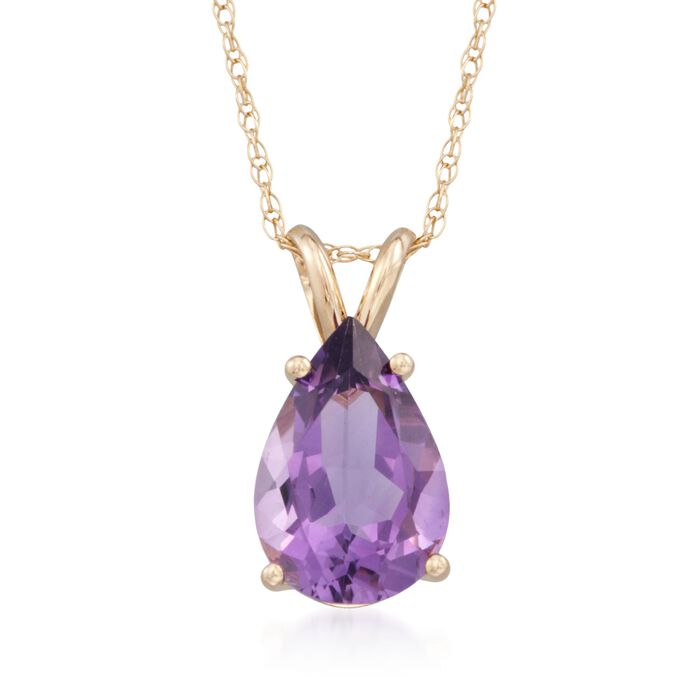 """2.80 Carat Amethyst Pendant Necklace in 14kt Yellow Gold. 18"""", , default"""