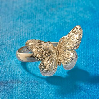 Italian 18kt Yellow Gold Diamond-Cut Butterfly Ring, , default