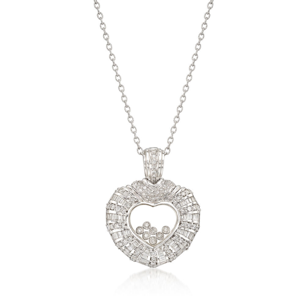ea37f069d48 C. 1990 Vintage 3.00 ct. t.w. Floating Diamond Heart Pendant Necklace in  18kt White Gold. 18