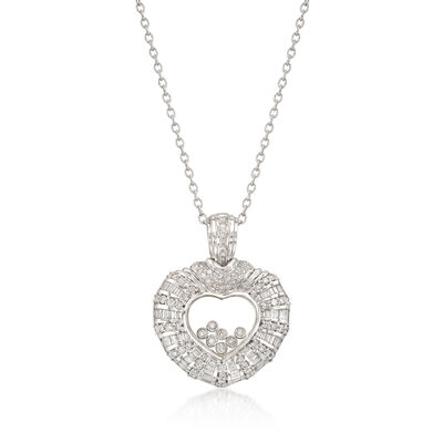 C. 1990 Vintage 3.00 ct. t.w. Floating Diamond Heart Pendant Necklace in 18kt White Gold, , default
