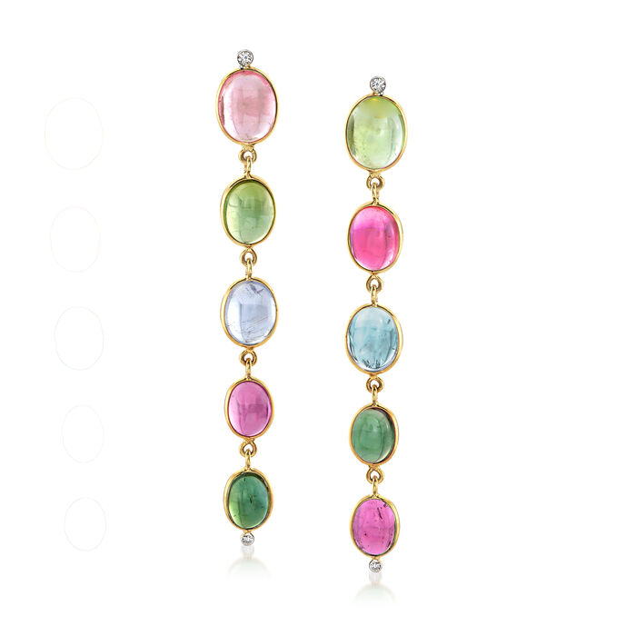 Mazza 18.00 ct. t.w. Multicolored Tourmaline and .10 ct. t.w. Diamond Drop Earrings in 14kt Yellow Gold, , default