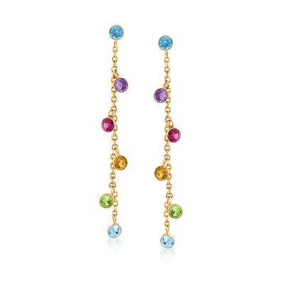 1.40 ct. t.w. Bezel-Set Multi-Gemstone Drop Earrings in 14kt Yellow Gold