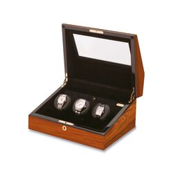 """Siena"" Teak Finish Triple Watch Winder With Cover by Orbita, , default"