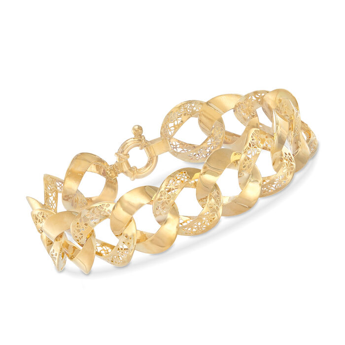 "Italian 14kt Yellow Gold Cut-Out Flower Link Bracelet. 8"", , default"