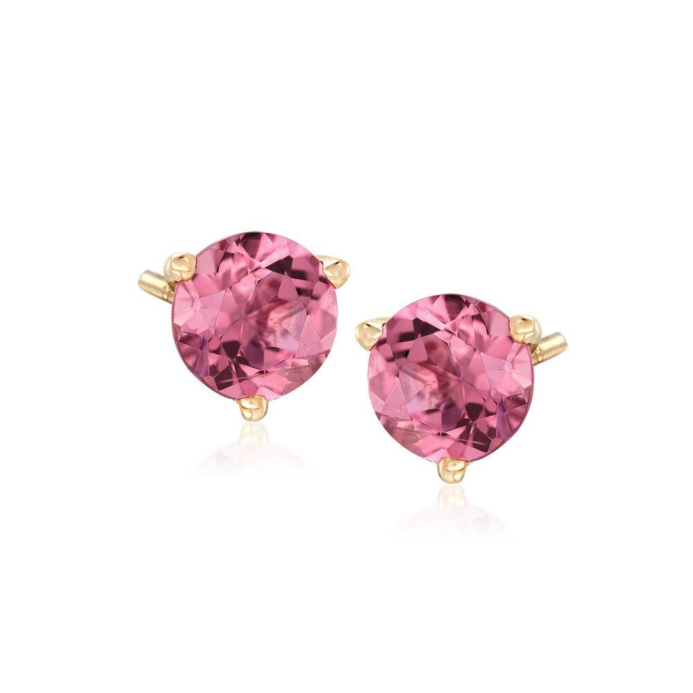 1 60 Ct T W Pink Tourmaline Stud Earrings In 14kt Yellow Gold