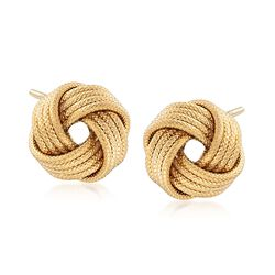Italian 18kt Gold Over Sterling Silver Textured Love Knot Stud Earrings, , default