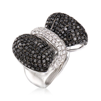 6.15 ct. t.w. Black and White Diamond Bow Ring in 14kt White Gold. Size 7