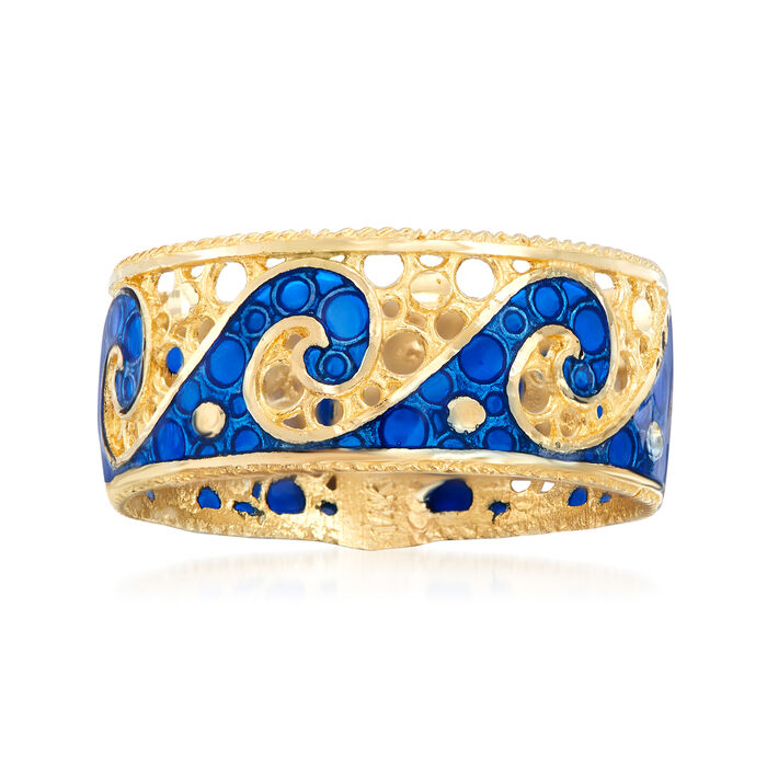 Italian 14kt Yellow Gold Wave Ring with Blue Enamel