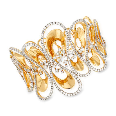 5.75 ct. t.w. Diamond Wavy Bangle Bracelet in 18kt Yellow Gold