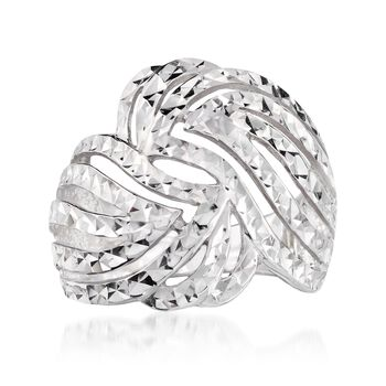 Sterling Silver Diamond-Cut Cutout Swirl Ring, , default