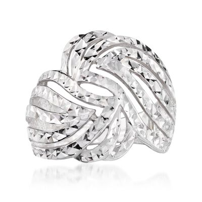 Sterling Silver Diamond-Cut Cutout Swirl Ring, , default