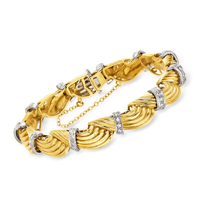 C. 1980 Vintage .65 ct. t.w. Diamond Swirl Link Bracelet in Platinum and 18kt Yellow Gold