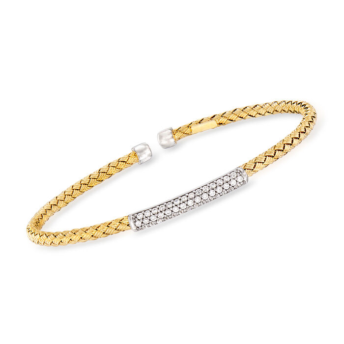 Italian .35 ct. t.w. Pave CZ Basketweave Cuff Bracelet in Sterling Silver and 18kt Yellow Gold Over Sterling Silver. 7.5""