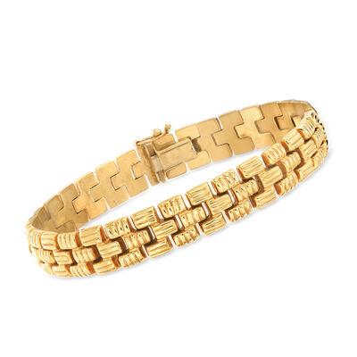 C. 1990 Vintage 14kt Yellow Gold Brick-Link Bracelet