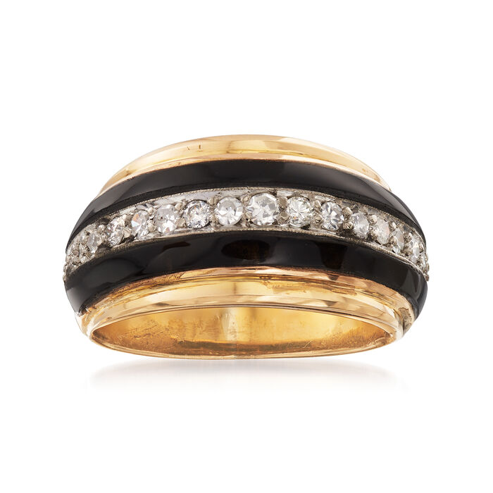 C. 1960 Vintage 1x22 Onyx Ring with .35 ct. t.w. Diamonds in 18kt Yellow Gold. Size 6.25