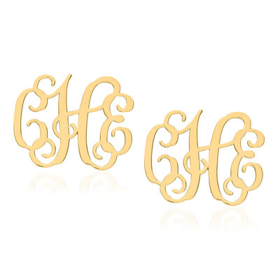 14kt Yellow Gold Medium Laser Polished Monogram Post Earrings, , default