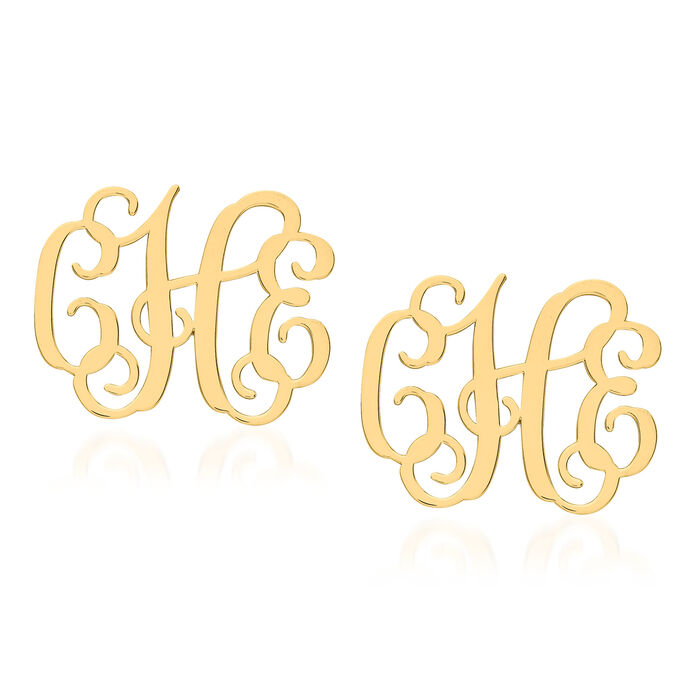 14kt Yellow Gold Medium Laser Polished Monogram Post Earrings