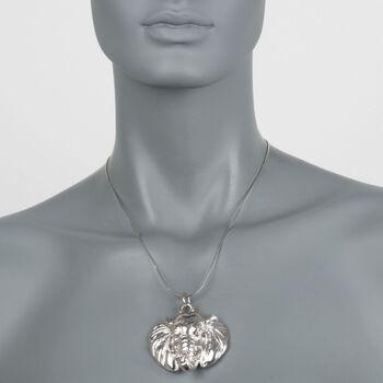 Italian Sterling Silver Elephant Head Pendant Necklace, , default