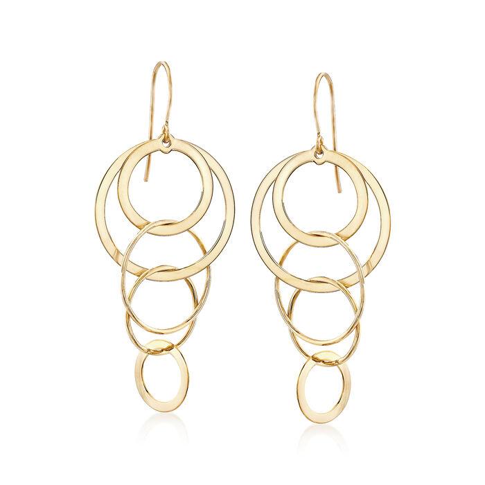 14kt Yellow Gold Multi-Circle Drop Earrings, , default