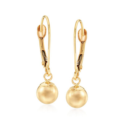 6mm 14kt Yellow Gold Shiny Bead Drop Earrings, , default