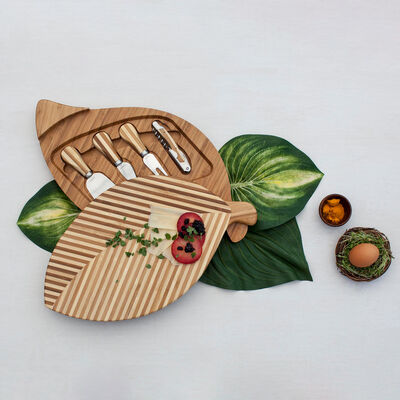 Leaf-Shaped Bamboo Cheese Board with Set of 4 Tools