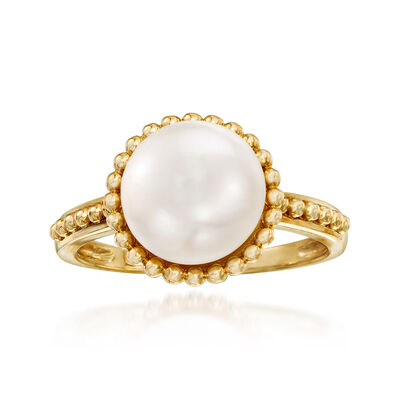 9.5-10mm Cultured Pearl and Beaded Ring in 14kt Yellow Gold, , default