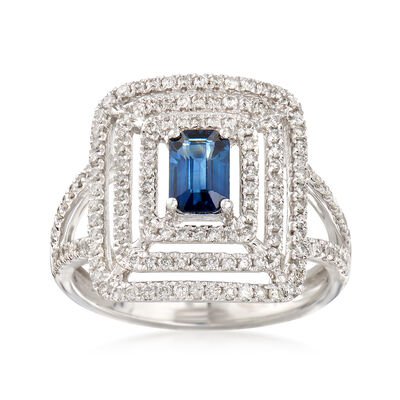 .60 Carat Sapphire and .56 ct. t.w. Diamond Ring in 18kt White Gold, , default