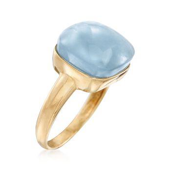 11.00 Carat Milky Aquamarine Ring in 14kt Yellow Gold, , default