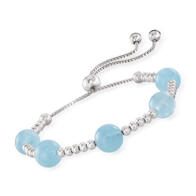 17.00 ct. t.w. Aquamarine Beaded Bolo Bracelet in Sterling Silver