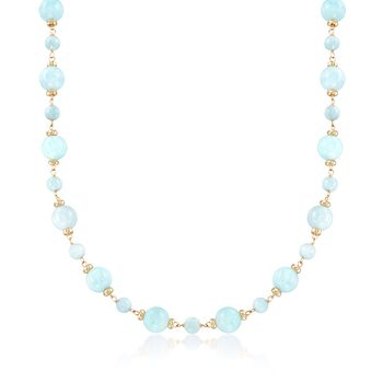"""Milky Aquamarine Station Necklace in 14kt Yellow Gold. 18"""", , default"""