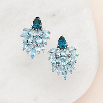 7.20 ct. t.w. Blue Topaz Drop Earrings in Sterling Silver