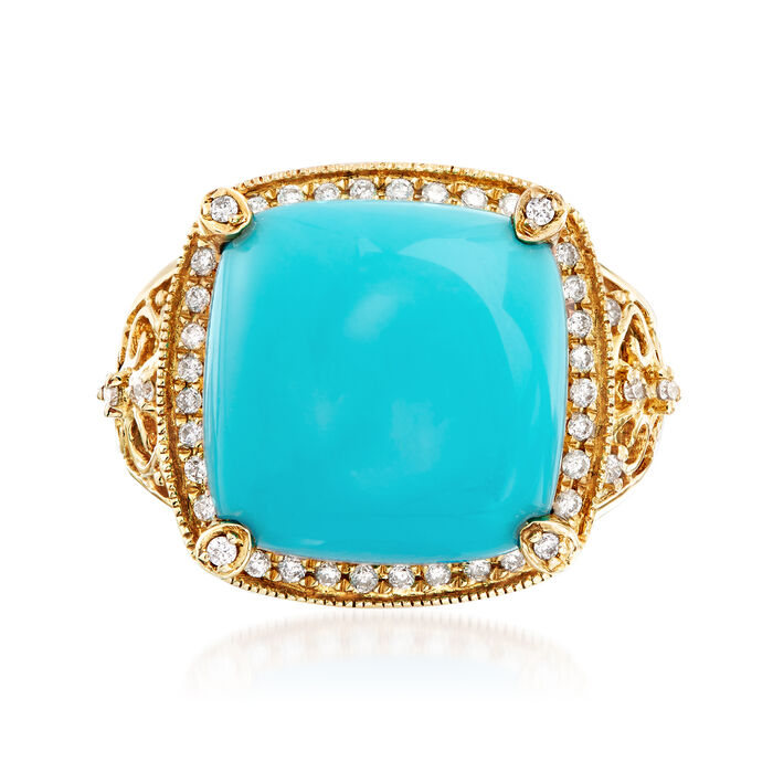 13.5mm Turquoise and .26 ct. t.w. Diamond Ring in 14kt Yellow Gold, , default