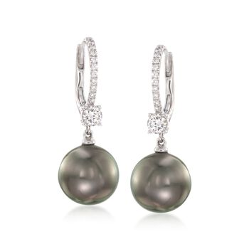 Mikimoto 11mm A+ Black South Sea Pearl and Diamond Drop Earrings in 18kt White Gold, , default