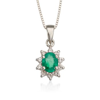 ".10 ct. t.w. Diamond and .35 Carat t.w. Emerald Pendant Necklace in 14kt White Gold. 18"", , default"