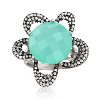 Green Chalcedony and .65 ct. t.w. CZ Flower Ring in Sterling Silver, , default