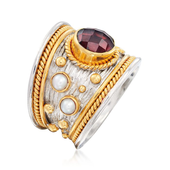 2.20 Carat Garnet and 3mm Cultured Pearl Ring in Sterling Silver and 18kt Gold Over Silver