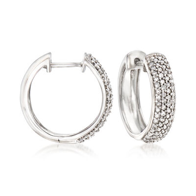 .50 ct. t.w. Pave Diamond Hoop Earrings in 14kt White Gold, , default
