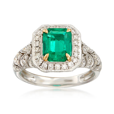C. 1990 Vintage 2.00 Carat Octagon Colombian Emerald and .75 ct. t.w. Diamond Ring in 18kt White Gold