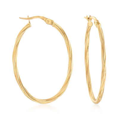 Italian 18kt Yellow Gold Oval-Shaped Twisted Hoop Earrings, , default