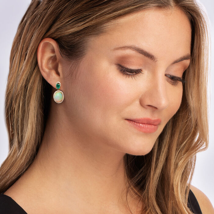 Opal, .90 ct. t.w. Emerald and .32 ct. t.w. Diamond Drop Earrings in 14kt Yellow Gold